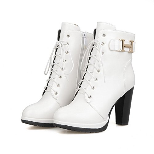 Round AmoonyFashion Boots High Women's top Heels Low Toe White Closed Soft Materials rtHt4Bxw