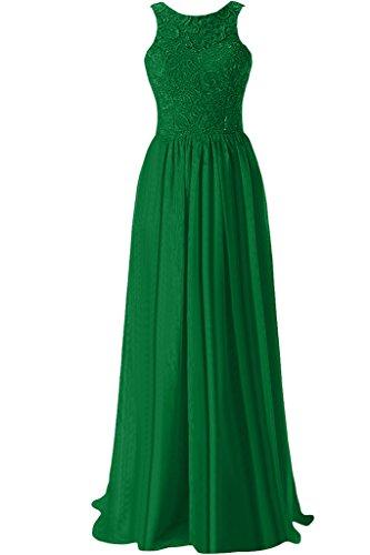 senza Graceful in Verde a sera da da vestiti Jewel voile Sunvary abito donna da sera collo line bretelle gRXgqw