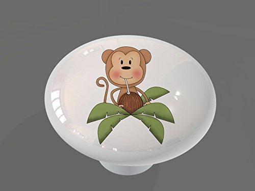 Monkey Drawer Knobs (Coconut Palm Monkey High Gloss Ceramic Drawer Knob)