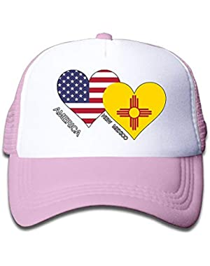 America New Mexico Flag Heart On Boys and Girls Trucker Hat, Youth Toddler Mesh Hats Baseball Cap