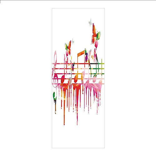 Ylljy00 Decorative Privacy Window Film/Colorful Artwork Music Notes Clef Composer Orchestra Decorative Classic/No-Glue Self Static Cling for Home Bedroom Bathroom Kitchen Office Decor ()