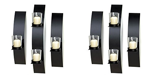 Contemporary Metal Wall Sconce Trio Candle Holder – Home Wall Decorative Accessories – Set of Two Trio – Colors May - Lighting Trio Wall