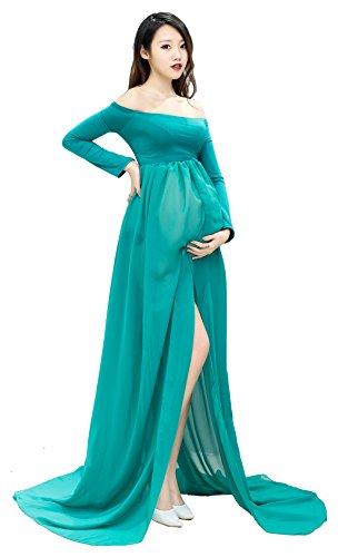Maternidad de vestir de gasa de espalda de espalda dividida Maxi Vestido de fotografía con ropa interior de 2 piezas Set Verde