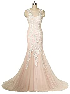 MARSEN Women's Tulle Appliques Prom Dress 2017 Formal Long Mermaid Evening Gown