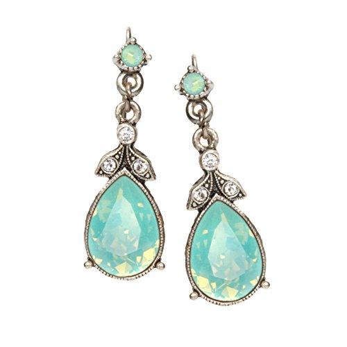 Swarovski Crystal Faceted Teardrop Simple Bridesmaids Vintage Wedding Silver Drop Earrings, Pacific Opal Aqua -