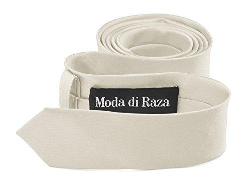 Moda Di Raza- Mens Skinny Slim Neck Tie - Silk Finish Polyester Men Necktie - Solid Color Long Ties for Men - Fashion Tie - (Blue Cream Mens Satin)