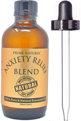 Anxiety Relief Essential Oil Blend 120ml/ 4oz - 100% Natural Pure Undiluted Therapeutic Grade for Aromatherapy, Scents & Diffuser Depression, Stress Relief, Relaxation, Boost Mood, Uplifting, Calming
