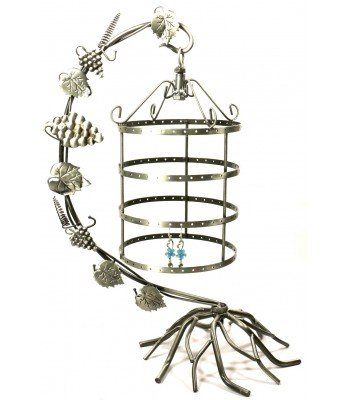 Bejeweled Display® Antique Silver Birdcage Jewelry Tree Earring Holder Necklace Organizer Display in 2 Colors (Antique Silver) (Bird Earring Holder)