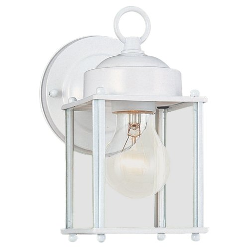 - Sea Gull Lighting 8592-15 New Castle One-Light Outdoor Wall Lantern with Clear Glass Panels, White Finish