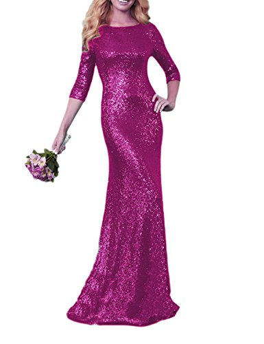 OYISHA Womens 2017 Sequined Maxi Evening 2/3 Sleeve Backless Formal Gowns BD154 Fuchsia 16 Sequined Fuchsia Fabric