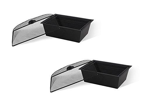 HARTMAN Jamie Oliver 2er-Set Tischgrill bzw. Eisbehälter aus hochwertigem Aluminium in grau, praktischer Grillrost aus Gusseisen, für den Grilltisch geeignet, Ø 42 cm, langlebig, korrosionsbeständig