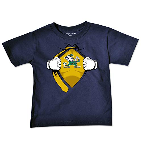 NCAA Notre Dame Fighting Irish Toddler Short Sleeve Super Hero Tee, 2 Toddler, Navy