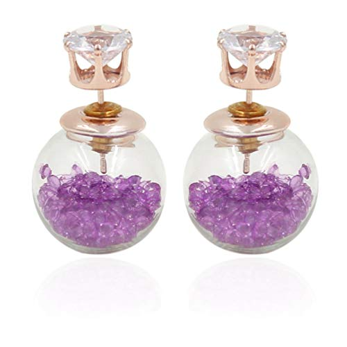 (18K Gold Plated Cubic Zirconia Purple Drift sand Beads Glass Ball double-sided piercing Stud Post Earrings)