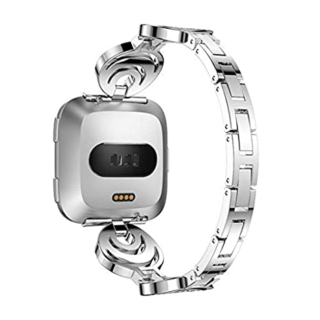 Crystal Stainless Steel Wrist Strap for Fitbit Versa,Oucan Replacement Wristband Quick Release Bracelet Band Strap Loop with Metal Buckle for Women Girls