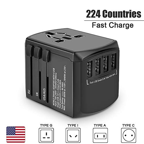 International Power Adapter for US AU UK Europe Over 224 Countries-Evershop All in One Worldwide Universal Wall Charger AC Plug Adaptor with 4.5A Converters Power USB