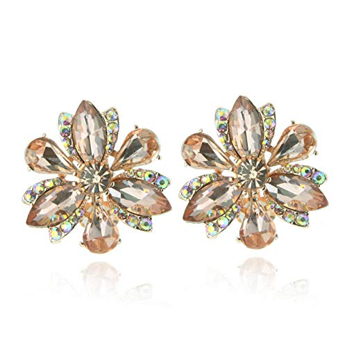 SP Sophia Collection Women's Stunning Crystal Statement Floral Stud Clip On Earrings in Gold - Wedding Earrings Floral