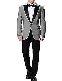 Pretygirl Men's Two-Piece Leisure One Button Mens Suits Shawl Lapel Bridegroom Suit