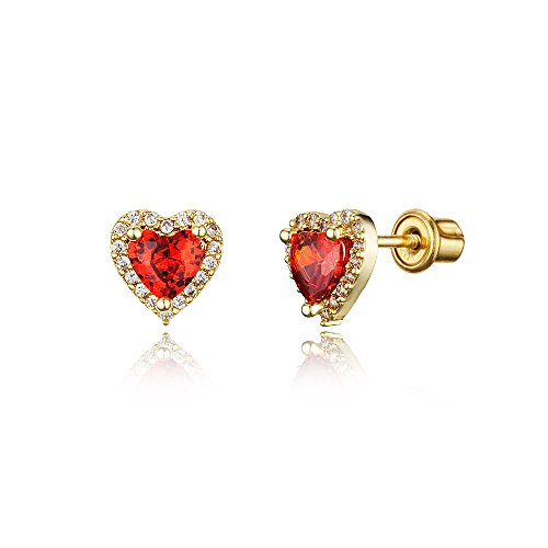 Red Kids Earring - 14k Gold Plated Brass Red Heart Screwback Children Earrings with Sterling Silver Post