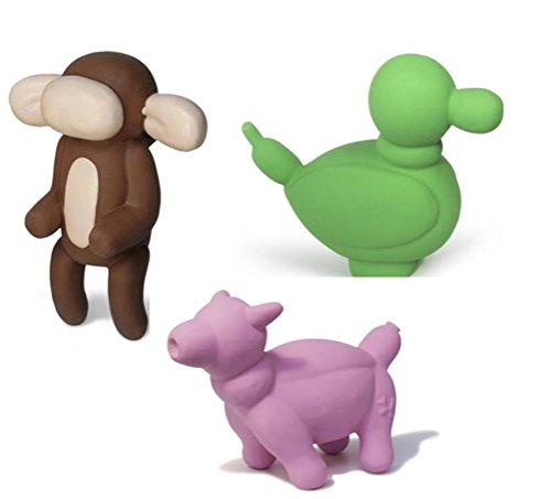 Image of Charming Pet All Natural Soft Latex Small Squeaker Toy 3 Shape Variety Bundle: (1) Pig, (1) Duck, and (1) Monkey