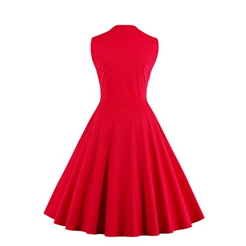 Rockabilly 42 Rote Blume DISSA Vintage 50er M1357 Retro Damen Cocktail Kleid XL EU xz8Fq17Y8w