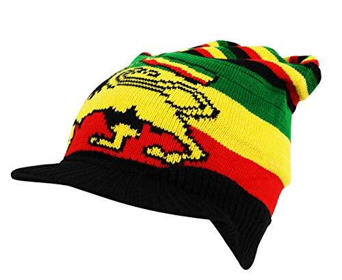Itzu Lion of Judah Rasta Striped Knit Peak Beanie Cap Hat (Black with Peak)