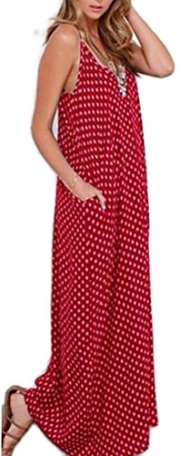 Boho Polka Strap Maxi Dress 2 Spaghetti Women Print Dot Neck Domple Sleeveless V wzqfTxC