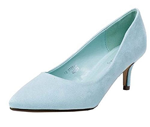 SHU CRAZY Womens Ladies Faux Suede Low Heel Pointed Toe Office Work Dressy Pumps Court Shoes - N38 Mint