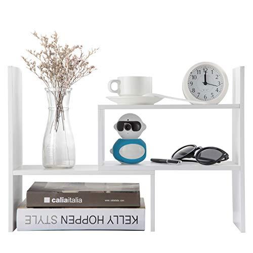 - Desktop Organizer Office Storage Adjustable Display Bookshelf Double Shelf Desk Supplies for Office Kitchen Multipurpose Rack