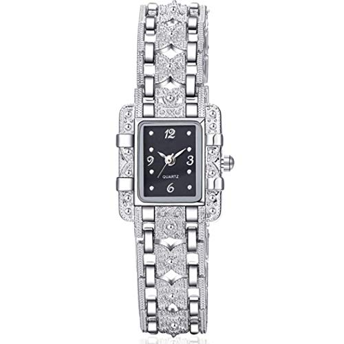Dongtu Women Casual Square Shape Rhinestone Buckle Closure Analog Quartz Wristwatch Wrist Watches
