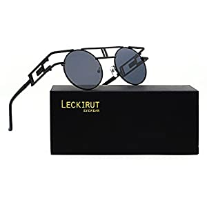 Leckirut Women Men Round Sunglasses Retro Vintage Steampunk Style Mirror Reflective Circle lens