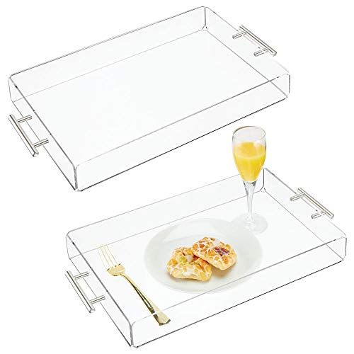 mDesign Modern Acrylic Rectangular Serving Tray with Handles for Food, Tea, Coffee, Breakfast, Snacks, Cheese, Appetizers - Use in Kitchen, Bathroom, Office - Medium, 2 Pack - Clear/Stainless Steel