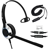 Deluxe Single Ear Noise Canceling Call Center/Office Headset & HIS Adapter for Avaya IP 1608, 1616, 9601, 9608, 9611, 9611G, 9620, 9620C, 9620L, 9621, 9630, 9631, 9640, 9641, 9650, 9670 + Many More
