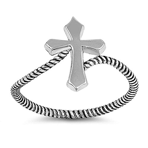 Sterling Silver Solid Plain Cross Rope Band