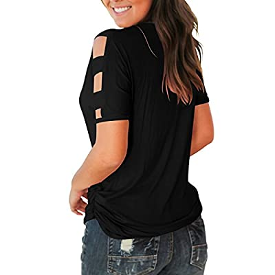 Jescakoo Women's Short Sleeve Cut Out Cold Shoulder Tops Deep V Neck T Shirts at Women's Clothing store