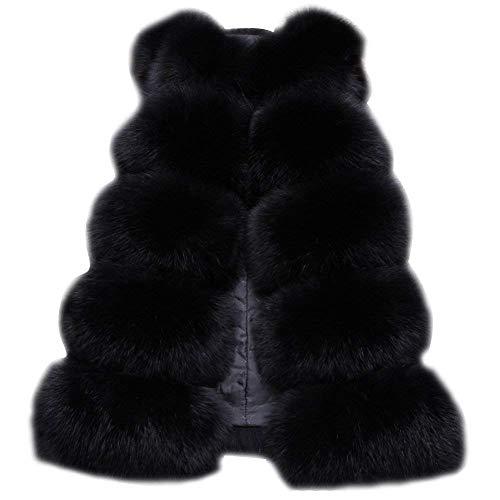 Black Elegante De Fox Cálido Fur Faux Mujer Chaqueta Folobe Chaleco Delgado Outwear cRPWZA7