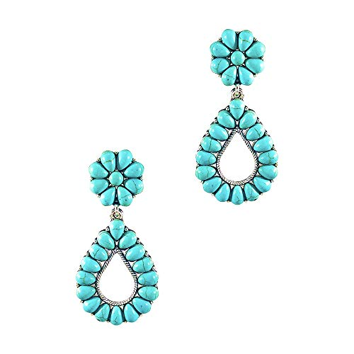 Wonderent Turquoise Bohemian Small Delicate Metal Fashion Earring No.248