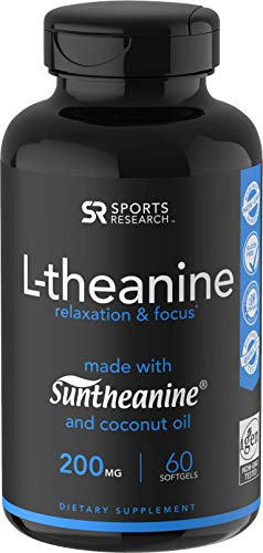 Suntheanine® L-Theanine 200mg (Double-Strength) in Cold-Pressed Organic Coconut Oil; Non-GMO & Gluten Free - 60 Liquid Softgels