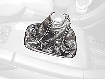 RedlineGoods Shift Boot Compatible with Hyundai Veloster 2011-18 Black Perforated Leather-Silver Thread
