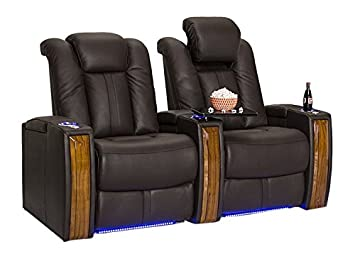 Seatcraft Monaco Leather Power Recline Home Theater Seating Chairs |  Powered By SoundShaker (Row Of
