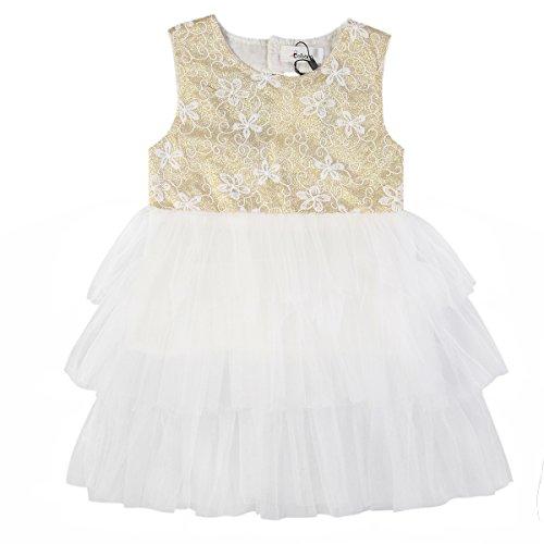 BOBORA Baby Girls Kids Princess Sequins Tulle Lace Tutu Slip Dress (XS/1-2Y, (Gold And White Flower Girl Dresses)