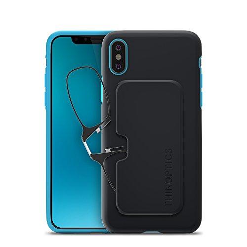 ThinOptics Reading Glasses + iPhone X Case | Black/Blue Fortify Case, 2.50 Strength from ThinOptics