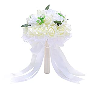 Afco Bridal Bouquet Wedding Party Props,Ribbon Bow Lace Faux Pearls Artificial Flower Never Wither and Fall 26