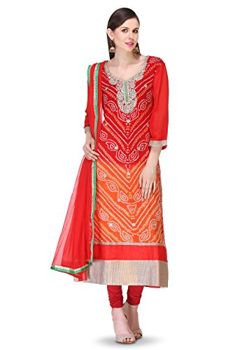 Utsav Fashion Pure Chinon Crepe Bandhej Straight Suit in Ombre Red and Orange