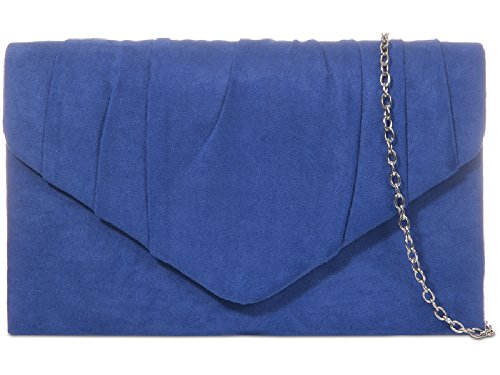 Ladies Handbag Envelope Purse Faux Women's KW308 Evening Royal Suede Clutch Cocktail Bag Bag Blue 00xRqrF