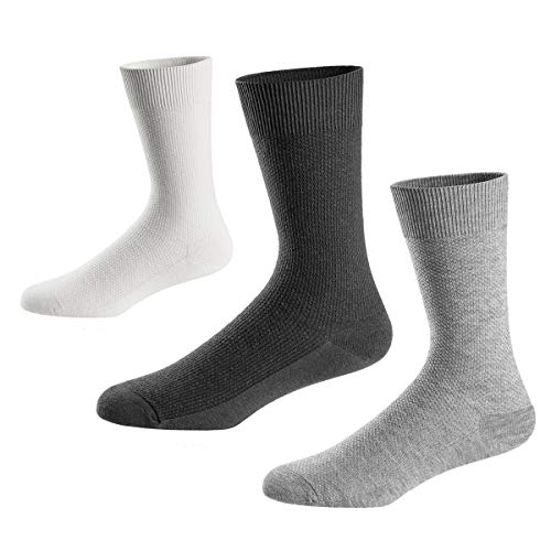 - Mens Dress Socks-Crew Cotton Socks with Mesh Texture for Business and Casual US Size 8-12 3 Pack KASNASV