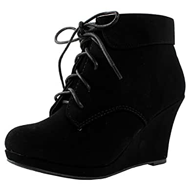 Top Moda Womens Max-35 Max 35 Womens Wedge Ankle Booties,5.5 B(M) US,Black