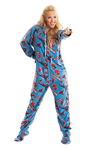 Spider Man Marvel Blue Unisex Adult Footed Onesie Pajamas for Men and Women (M)