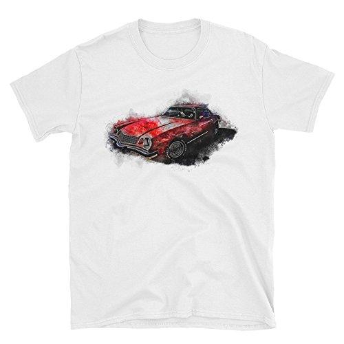 ro T-Shirt Vintage Car Muscle Car Men's White 100% Eco Cotton Tee (Camaro White Muscle Car T-shirt)