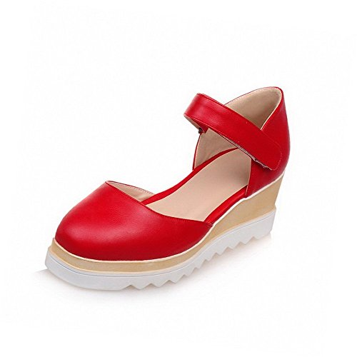 AllhqFashion Women's Solid PU Kitten-Heels Square Closed Toe Hook-and-loop Sandals Red ui5rNLfo