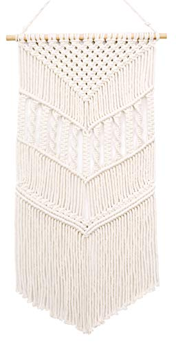 MyHutShop Macrame Wall Hanging - Boho Decor - White Tapestry Decoration with Geometric Decor Pattern - Bohemian Decor for Home and Apartment Decorations - 33 Inches L X 16.5 Inches W ()
